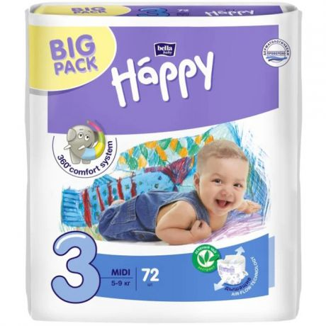 Подгузники Bella Baby Happy fun 3 (5-9 кг) 72 шт