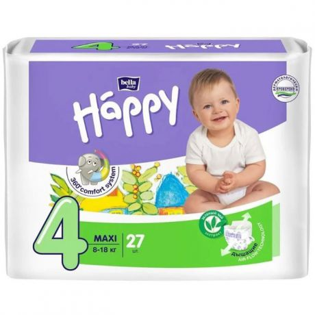 Подгузники Bella Baby Happy fun 4 (8-18 кг) 27 шт