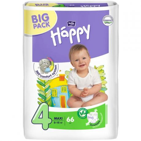 Подгузники Bella Baby Happy fun 4 (8-18 кг) 66 шт