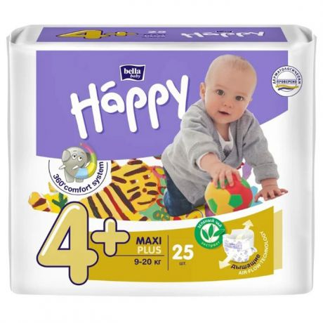 Подгузники Bella Baby Happy fun 4+ (9-20 кг) 25 шт