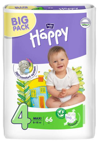Подгузники Bella baby Happy 4 (8-18 кг) 66 шт