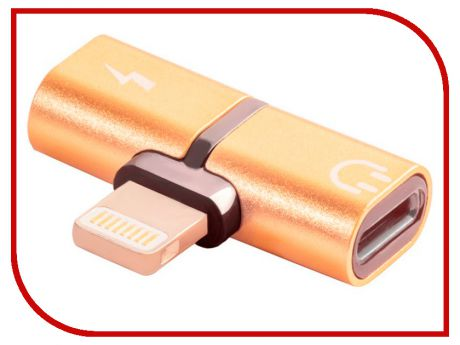 Аксессуар Greenconnect USB 2.0 Lightning 8pin - jack 3.5mm Gold GCR-51150
