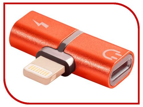 Аксессуар Greenconnect USB 2.0 Lightning 8pin - jack 3.5mm Red GCR-51149
