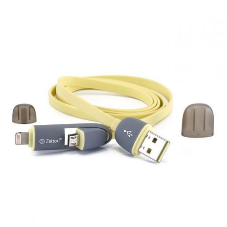 Zetton ZTLSUSB2IN1 USB кабель с разъемами Apple 8 pin/Micro-USB, Yellow