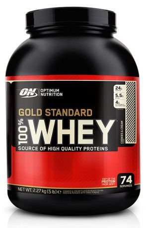 Протеин Optimum Nutrition 100% Whey Gold Standard Cookies & Cream, кремовое печенье, 2,27 кг