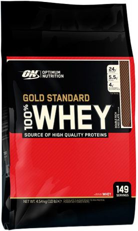 Протеин Optimum Nutrition 100% Whey Gold Standard Double Rich Chocolate, двойной богатый шоколад, 4,54 кг