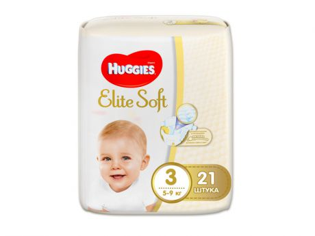 Подгузники Huggies Elite Soft 3 5-9кг 21шт
