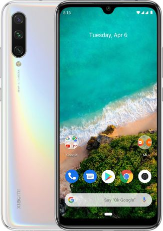 "Смартфон Xiaomi Mi A3 More than White (M1906F9SH) Qualcomm Snapdragon 665 (2.0)/4 Gb/128 Gb/6.088"" (1560 x 720)/DualSim/LTE/NFC/BT/Android 9.0"