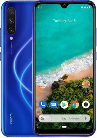 "Смартфон Xiaomi Mi A3 Not just Blue (M1906F9SH0) Qualcomm Snapdragon 665 (2.0)/4 Gb/128 Gb/6.088"" (1560 x 720)/DualSim/LTE/NFC/BT/Android 9.0"