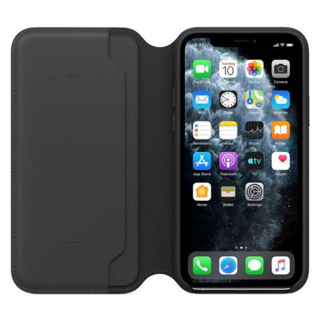 Чехол (флип-кейс) APPLE Leather Folio, для Apple iPhone 11 Pro, черный [mx062zm/a]