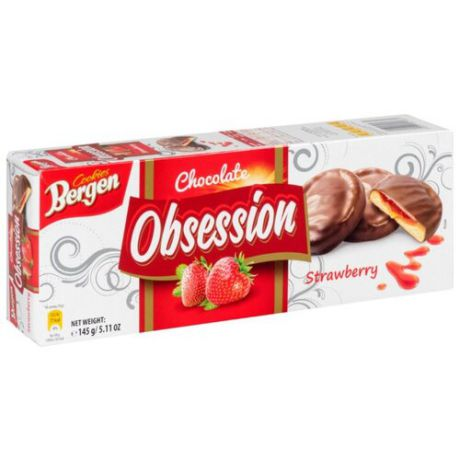 Печенье Bergen Chocolate Obsession Strawberry 145 г