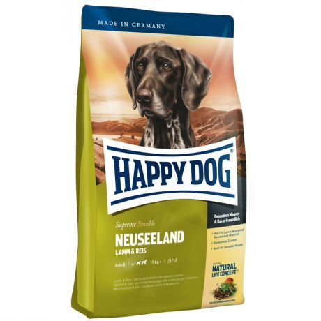 Корм для собак HAPPY DOG Новая Зеландия ягненок, рис сух. 4кг