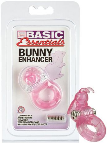 Вибро-зайчик на пенис Basic Essentials Bunny Enhancer – розовый