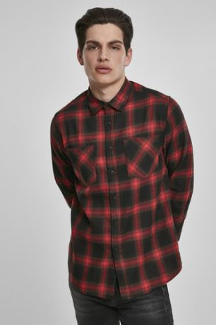 Рубашка URBAN CLASSICS Checked Flanell Shirt 6 (Black/Red, XL)