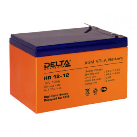 Батарея Delta HR 12-12, 12V 12Ah (Battery replacement APC rbc4, rbc6 151мм/98мм/95мм)