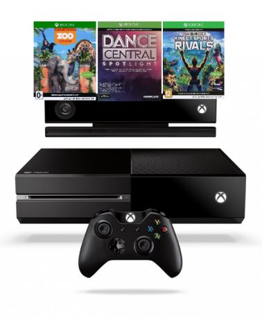 Игровая приставка Xbox One 500GB (6QZ-00088) + Kinect + Dance Central Spotlight, Kinect Sports Rivals, Zoo Tyco