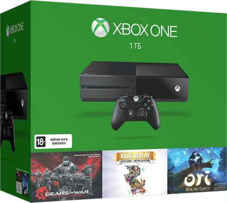Игровая приставка Xbox One 1 TB (KF7-00066)+ Gears of War Ultimate/Rare Replay+ код Ori and the Blind Forrest