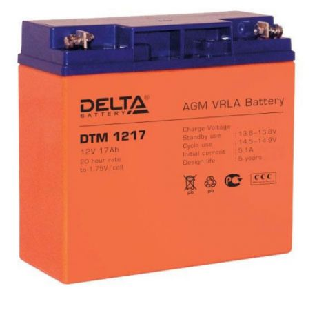 Батарея Delta DTM 1217, 12V  17Ah (Battary replacement APC rbc7, rbc55, rbc11 181мм/77мм/167мм)