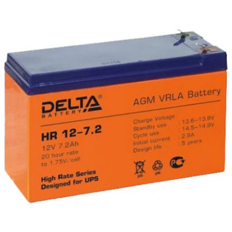 Батарея Delta HR 12-7.2, 12V 7.2Ah (Battery replacement APC rbc2, rbc5, rbc12, rbc22, rbc32 151мм/94мм/65мм)