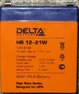 Батарея Delta HR 12-21W 12V 5Ah (Battery replacement APC rbc30, rbc43, rbc44, sybt2 90мм/101мм/70мм)