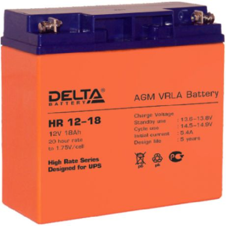 Батарея Delta HR 12-18, 12V 18Ah (Battary replacement APC rbc7, rbc11, rbc55 181мм/167мм/77мм)