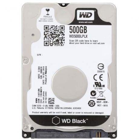 "500Gb 2.5"" Western Digital (WD5000LPLX) 32Mb 7200rpm SATA3 Black"