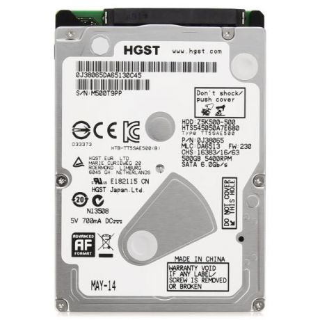 "500Gb 2.5"" Hitachi (HTS545050A7E680_0J38065) 8Mb 5400rpm SATA3 Travelstar Z5K500"
